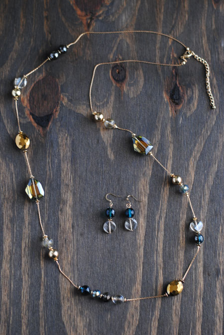 Blue & Gold Bead Necklace with Earrings