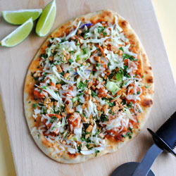 Butter Chicken Naan Pizza with Peanut Slaw