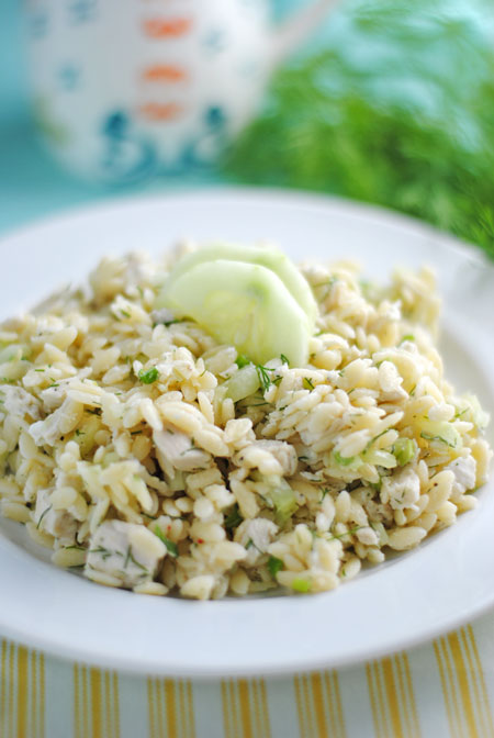 Lemony Orzo Salad with Chicken