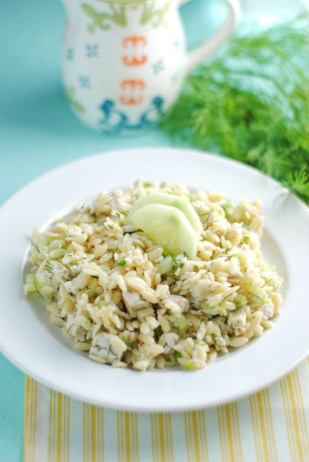 Lemony Orzo Salad with Chicken
