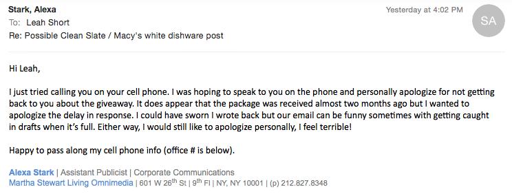 Alexa Stark Martha Stewart Email