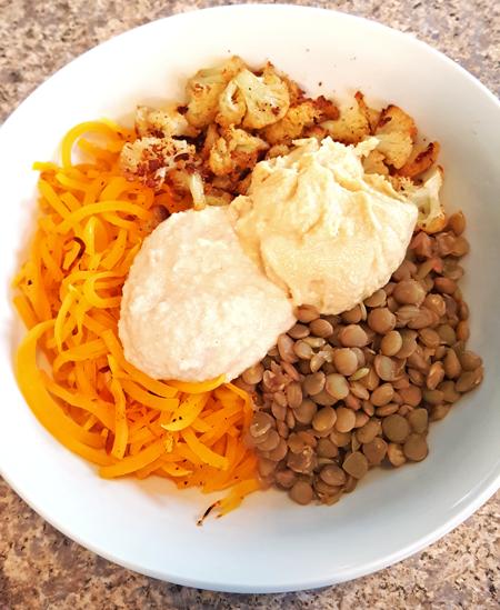 Butternut Squash Noodle Lentil Bowl