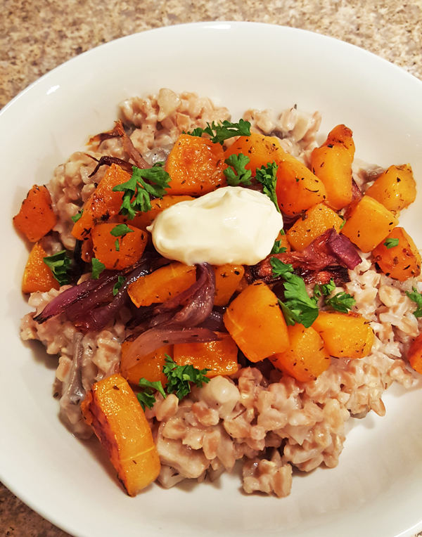 Farro with Brie and Squash